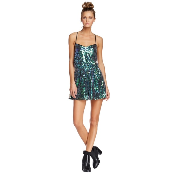 7f3982f5869 BCBG Black Green Sequin Romper Jumpsuit. Boutique. BCBGeneration